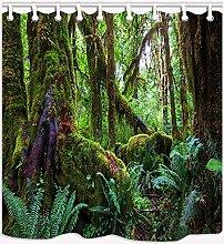 zhanghui2018 Green rainforest plant shower curtain