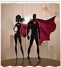 zhanghui2018 Superhero Shower Curtain City Hero