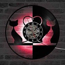 ZhangXF Cute cat Vinyl Record Wall Clock, LED