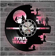 ZhangXF LP Vinyl Record Wall Clock, LED Luminous