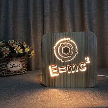 ZHANGYY Table Lamp Bedside 3D Hollow Wooden Night