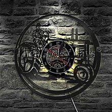 ZhaoCJB Vinyl Record Wall Clock Farm Tractor
