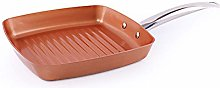 ZHBH Frying Copper Pan Non-Stick Square Grill Pan,
