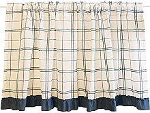 ZHDWM Cotton Linen lattice short curtain panels
