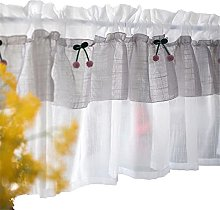 ZHDWM Rural Fresh Style Cafe Short Curtains