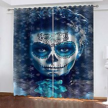 ZHDXDP 2 Panel Blackout Curtain Blue Abstract Girl