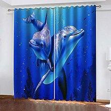 ZHDXDP 2 Panel Blackout Curtain Blue Animal