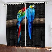 ZHDXDP 2 Panel Blackout Curtain Blue Animal Parrot
