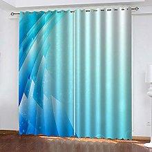 ZHDXDP 2 Panel Blackout Curtain Blue Creative Arts