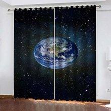 ZHDXDP 2 Panel Blackout Curtain Blue Earth