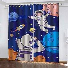 ZHDXDP 3D Print Curtain Cartoon Astronaut 3D Art