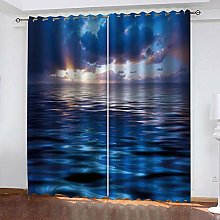 ZHDXDP 3D Print Curtain Night View Of The Blue Sea