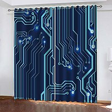 ZHDXDP Blackout Curtains For Bedroom 2 Panel Blue