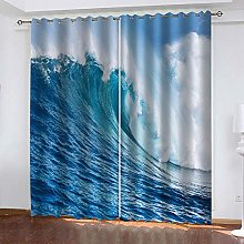 ZHDXDP Curtains For Living Room Big Blue Waves 3D
