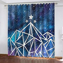 ZHDXDP Curtains For Living Room Blue Star Print 3D