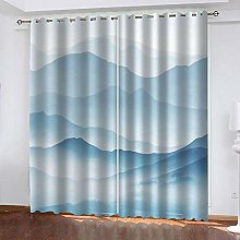 ZHDXDP Soundproof Curtains 3D Print Blue Abstract