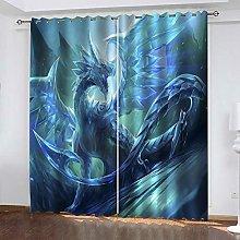 ZHDXDP Soundproof Curtains 3D Print Blue Anime