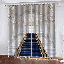 ZHDXDP Soundproof Curtains 3D Print Blue Carpet