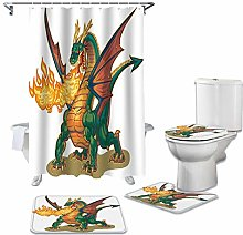 ZHEBEI Animal Art Shower Curtain Toilet Seat Trap