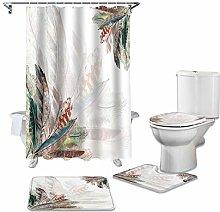 ZHEBEI Animal shower curtain set non-slip carpet