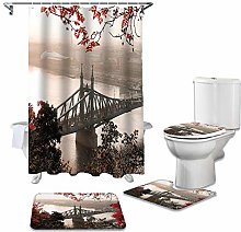 ZHEBEI Bathroom shower curtain and carpet cover
