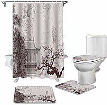 ZHEBEI Bathroom waterproof shower curtain carpet