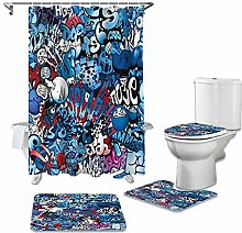 ZHEBEI Blue shower curtain toilet seat cover Wc