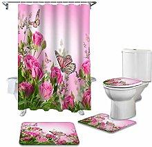 ZHEBEI Pink Flower Shower Curtain Toilet Seat Trap