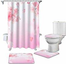 ZHEBEI Pink flowers durable waterproof shower