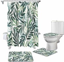 ZHEBEI Plant shower curtain toilet cover cover