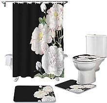 ZHEBEI Rose shower curtain toilet cover cover