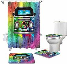ZHEBEI Shower curtain set carpet toilet cover