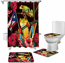 ZHEBEI Shower curtain set non-slip carpet bathroom