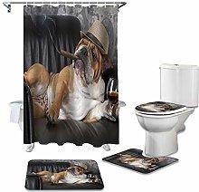 ZHEBEI Shower curtain set non-slip carpet toilet