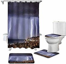 ZHEBEI Shower curtain toilet cover cover toilet