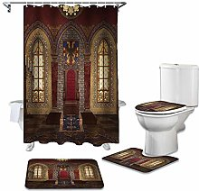 ZHEBEI Shower curtain toilet seat cover set toilet