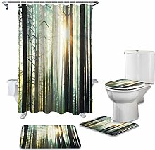 ZHEBEI Shower curtain toilet seat cover toilet