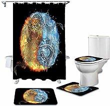 ZHEBEI Shower curtain toilet seat cushion cover