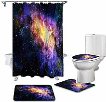 ZHEBEI Shower curtain toilet seat set toilet