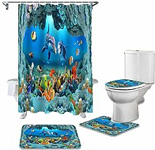 ZHEBEI Submarine shower curtain toilet cover cover