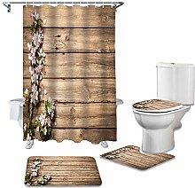 ZHEBEI Wood grain shower curtain bathtub