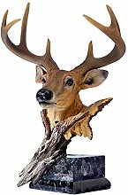 ZHENAO Crafts Deer Head Sculpture Decoration,