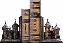 ZHENAO Decorations Old Castle Statue Bookend,