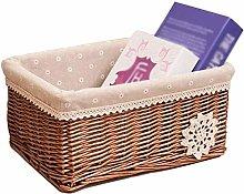 ZHENAO Household Wicker Shopping Basket Rectangle