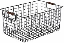 ZHENAO Portable Storage Basket Iron Art Desktop
