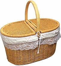 ZHENAO Rattan Picnic Basket Portable Shopping