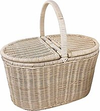 ZHENAO Rattan Picnic Basket Portable Shopping