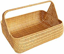 ZHENAO Rattan Picnic Basket Portable Storage