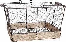 ZHENAO Retro Wrought Iron Shopping Basket Storage