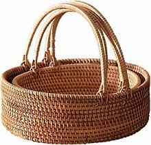 ZHENAO Supermarket Shopping Basket Rattan Handle
